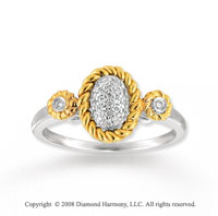 14k Two Tone Gold Pave Diamond Oval Fashion Ring