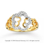 14k Two Tone Gold Diamond Flower Fashion Ring