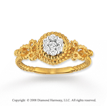 14k Yellow Gold Diamond Rope Fashion Ring