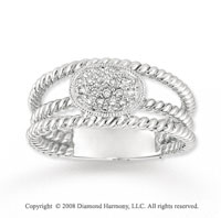 14k White Gold Triple Band Diamond Fashion Ring