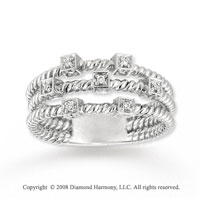 14k White Gold Diamond Triple Row Fashion Ring