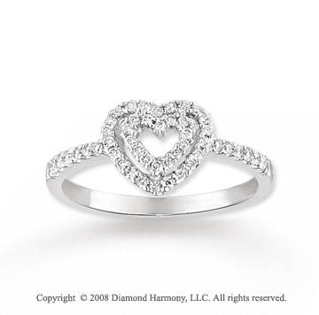 14k White Gold Two Hearts Enclosed Diamond Ring