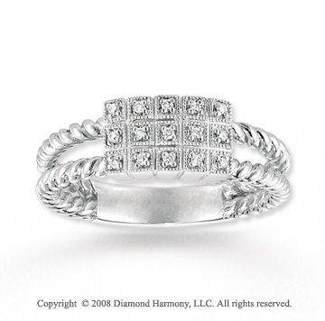 14k White Gold Diamond Double Rope Ring