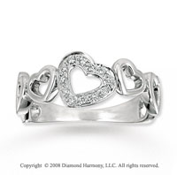 14k White Gold Stylish Heart Diamond Ring