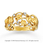 14k Yellow Gold Rose Buds Diamond Ring