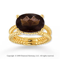 14k Yellow Gold 6 1/2 Carat Smokey Quartz Diamond Ring