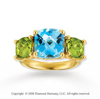 14k Yellow Gold  Blue Topaz & Peridot Ring