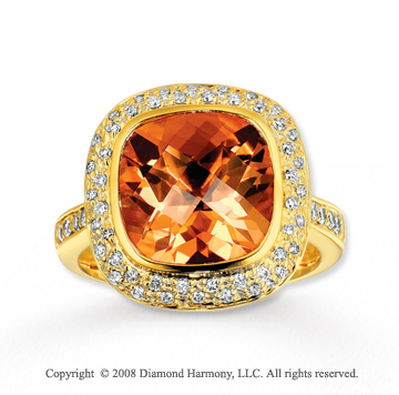 14k Yellow Gold Elegant 5 Carat Citrine Diamond Ring