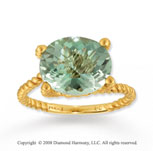 14k Yellow Gold Simple Elegance Green Amethyst Rope Ring