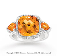 14k White Gold 8 1/2 Caratw Citrine Diamond Statement Ring