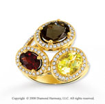 14k Yellow Gold Stunning Multi Gemstone Diamond Ring