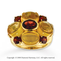 Unique 14k Yellow Gold Garnet and Cabochon Citrine Ring