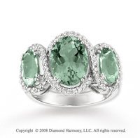 14k White Gold 4 1/2 Carat Green Amethyst Diamond Ring
