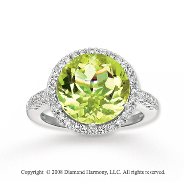 Elegant 14k White Gold  Lime Quartz Diamond Ring