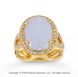 14k Yellow Gold 7.60 Carat Blue Coral 1/2 Carat Diamond Ring