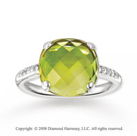 14k White Gold Simply Elegant 9 Carat Lime Quartz Diamond Ring