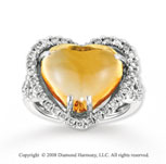 14k White Gold  Heart Shaped Citrine Diamond Ring