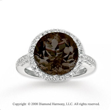 Elegant 14k White Gold  Smokey Quartz Diamond Ring