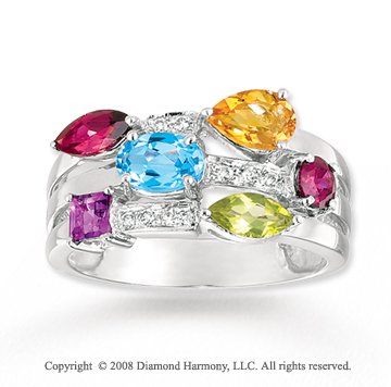 14k White Gold Stunning Multi Gem Diamond Ring