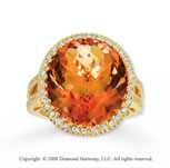 14k Yellow Gold 12 3/4 Carat Citrine Diamond Statement Ring