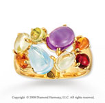 14k Yellow Gold Stunning Cabochon Multi Gemstone Ring