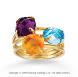 14k Yellow Gold Multi Gemstone Triple Band Statement Ring