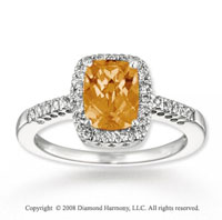 14k White Gold Simple Elegance Citrine Diamond Ring