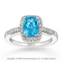 14k White Gold Simple Elegance Blue Topaz Diamond Ring