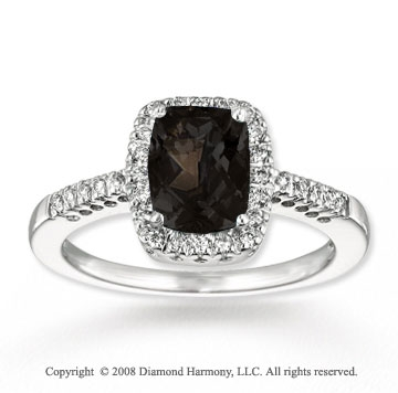 14k White Gold Simple Elegance Smokey Quartz Diamond Ring