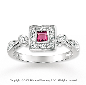 14k White Gold Antique Style Pink Topaz Diamond Ring