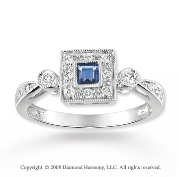 14k White Gold Antique Style Sapphire Diamond Ring