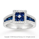 14k White Gold 1/3 Carat Diamond .90 Carat Blue Sapphire Ring