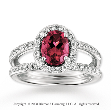 14k White Gold 1 1/3 Carat Pink Topaz .40 Carat Diamond Fashion Ring