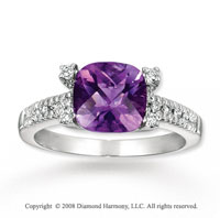 14k White Gold 2.60 Carat Amethyst Diamond Ring