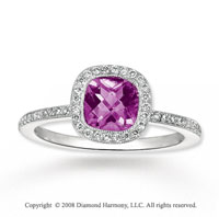 14k White Gold 1 Carat Amethyst Diamond Ring