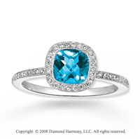 14k White gold 1.20 Carat Blue Topaz 1/4 Carat Diamond Fashion Ring