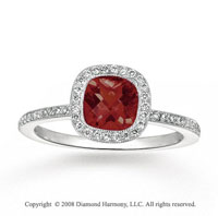 14k White Gold 1.35 Carat Garnet 1/4 Carat Diamond Fashion Ring