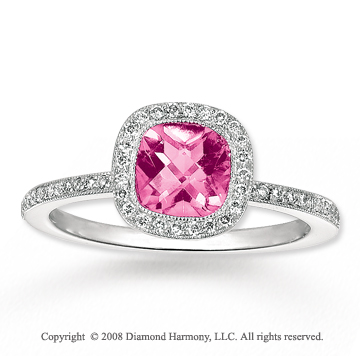 14k White Gold 1.40 Carat Pink CZ 1/4 Carat Diamond Fashion Ring