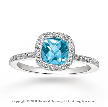 14k White Gold 0.65 Carat Aquamarine 1/4 Carat Diamond Fashion Ring