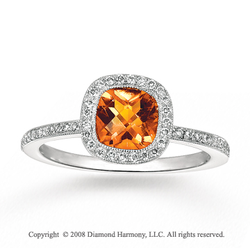 14k White Gold 0.90 Carat Citrine 1/4 Carat Diamond Fashion Ring