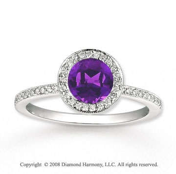 14k White Gold .70 Carat Amethyst 1/4 Carat Diamond Fashion Ring