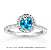 14k White Gold 1 Carat Blue Topaz 1/4 Carat Diamond Fashion Ring