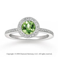 14k White Gold .90 Carat Peridot 1/4 Carat Diamond Fashion Ring