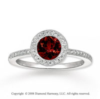 14k White Gold 1.45 Carat Garnet 1/4 Carat Diamond Fashion Ring