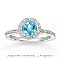 14k White Gold .80 Carat Aquamarine 1/4 Carat Diamond Fashion Ring