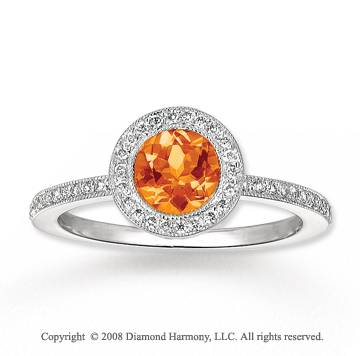 14k White Gold .75 Carat Citrine 1/4 Carat Diamond Fashion Ring