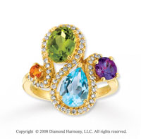 14k Yellow Gold Stunning Multi Gem Diamond Ring
