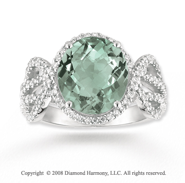 14k White Gold 4.20 Carat Green Amethyst 1/2 Carat Diamond Ring