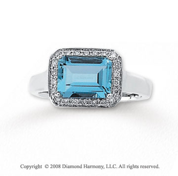 1/8 Carat Diamond Aquamarine 14k White Gold Ring