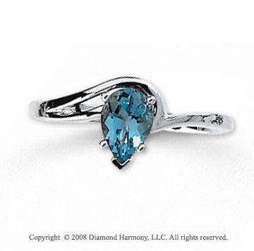 14k White Gold Pear Shaped Aquamarine Ring